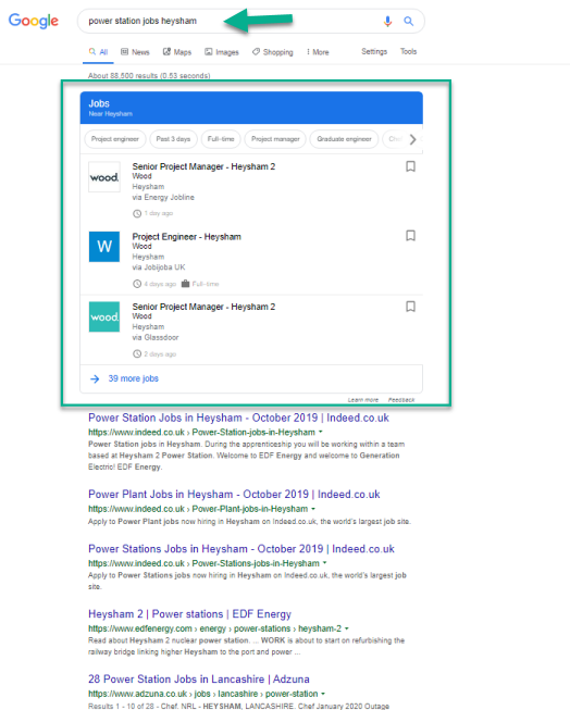 Google for Jobs listings above organic results